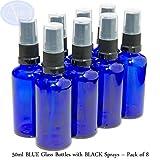 8er-PACKUNG - 50ml BLAUGLAS-Flaschen mit Schwarzen Sprüh-ZERSTÄUBERN. Ätherisches Öl / Verwendung in Aromatherapie