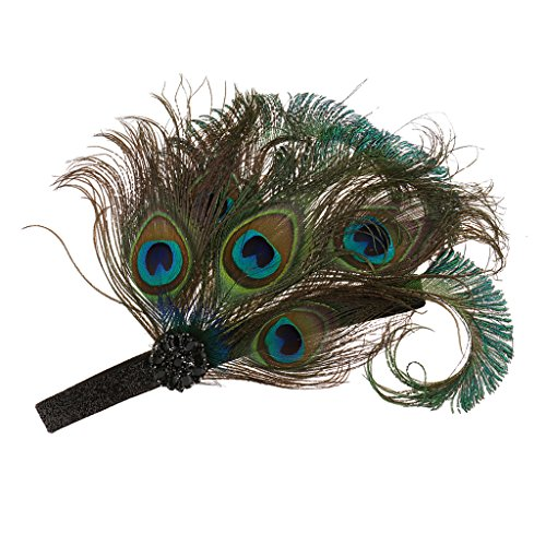 Gazechimp Pfau Feder Haarband Hochzeit Kopfband Gatsby 1920er Kostüm