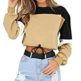 SEWORLD 2018 Damen Mode Sommer Herbst Frauen Strand Schal Langarm Spleißen Farbe Sweatshirt Pullover Tops Bluse(Kaffee,EU-46/CN-XL)