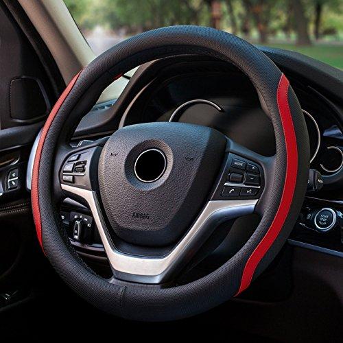 ECLEAR Housse Housse de volant universel Housse de volant Volant Voiture Prot/ège volant en cuir microfibre respirante 37-39 cm//15 antid/érapant voiture Accessoires Noir