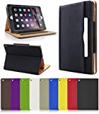 FLIPACASE® Black & Tan Apple iPad Air Case Cover (iPad Air 5th Generation, Release: October 2013) Premium Leather Wallet Case Cover With Auto-Sleep & Auto-Wake Feature. Includes Screen Protector