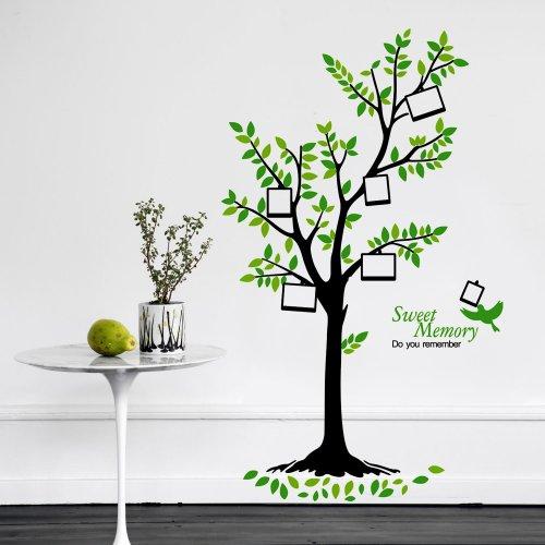 Green Tree Photo Frame - Adesivi da parete autoadesivi in vinile, decalcomania, colori misti