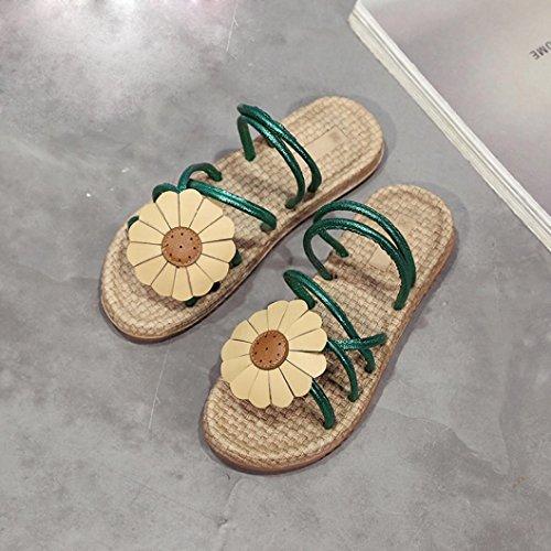 Transer® Damen Flach Slipper mit Sonnenblume Schwarz Weiß Grün Mode Urlaub Hausschuhe Mikrofaser+Gummi Slipper Grün