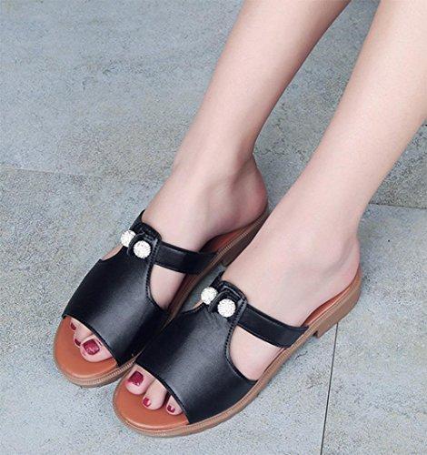 Wort Pantoffel weibliche Sommer Mode flache offene Sandalen und Pantoffel weiblicher wilde Perlen Fischmundschuh Black