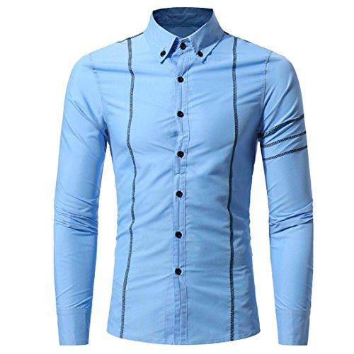 ESAILQ Mode Persönlichkeit Männer Casual Schlank Langarm-Shirt Top Bluse (Langarm Mode T-shirt Männer)