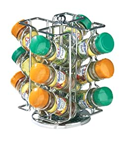Premier Housewares Revolving Spice Rack with 12 Schwartz Jars - Chrome