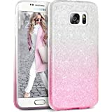 Coque Galaxy S7 Edge Paillette Pink Shading, TheBlingZ.® Housse Etui Protection Brillante Paillette Case pour Samsung Galaxy S7 Edge (2016) - Pink Shading