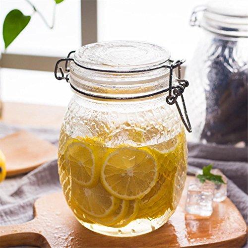 Ahui Glasspeichertank Spice Jar Condiments Cans Gewürzflasche Konserven Food Storage Tee Zucker Kaffeebohnen Food Solid Liquid mit Siegeldeckel -1.2L / 1.4L / 2.2L , 1100ml
