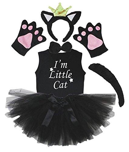 Petitebelle Kronen-Stirnband Bowtie Schwanz Handschuhe Hemd Rock 6pc Mädchen-Kostüm 4-5 Jahre Schwarze (Kind Tutu Black Cat Kostüm)