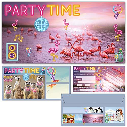 12-er Set Flamingo Einladungskarten mit Umschlag zum Kindergeburtstag oder Party - edle Einladungen für Mädchen Jungen & Erwachsene von BREITENWERK (Für Erwachsene Party)