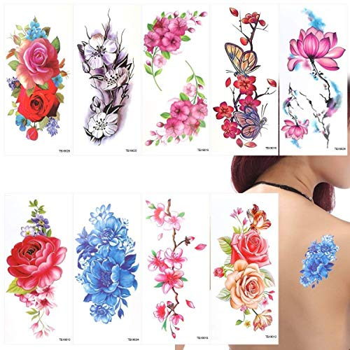 ttoos Aufkleber Lotus Kirschblüten Blitz Tattoo Pack von 9 Blätter ()