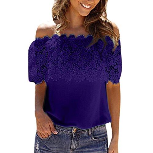 (JUTOO Frauen Schulterfrei Casual Tops Bluse Spitze Crochet Chiffon Shirt)