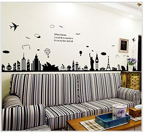 (LQWE Moderne Stadt Landschaft Wandaufkleber große Schwarze Turm Sydney Griechische Stadt für Wohnzimmer Schlafzimmer Hintergrund Home Decoratio)