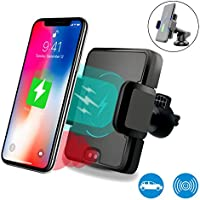 Wireless Car Charger, Phone Holder, Infrared Sensor 2-in-1 Air Vent Bracket Phone Holder Gravity Car Mount Fast Charging for Samsung Galaxy S9, S8, Note 8 and Standard Charge for iPhone X and All Qi-Enabled