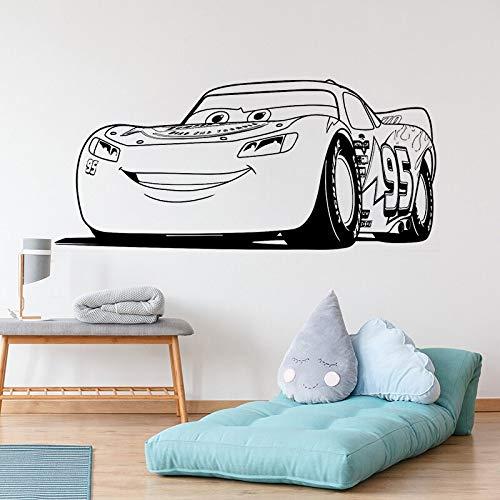 Qsdfcc Lightning McQueen Cars Disney Wandtattoo Wandkunst Wandaufkleber Kinderzimmer Dekor Nette Aufkleber Vinyl Aufkleber Geschenk Sticke 42x94cm