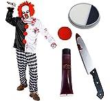 Déguisement accessoires pour adulte de clown tueur en série avec un haut et son pantalon + une perruque rouge + un nez rond + du maquillage + un faux couteau + du faux sang. Idéal pour les fêtes d'Halloween ou les enterrements de vie de garçon et de jeune fille. (XXLarge)
