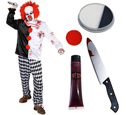 Déguisement accessoires pour adulte de clown tueur en série avec un haut et son pantalon + une perruque rouge + un nez rond + du maquillage + un faux couteau + du faux sang. Idéal pour les fêtes d'Halloween ou les enterrements de vie de garçon et de jeune fille. (Medium)