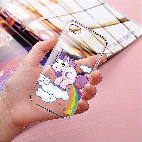 finoo | iPhone 8 Plus Handy-Tasche Schutzhülle | ultra leichte transparente Handyhülle in harter Ausführung | kratzfeste stylische Hard Schale mit Motiv Cover Case |Einhorn 02 Einhorn kackt