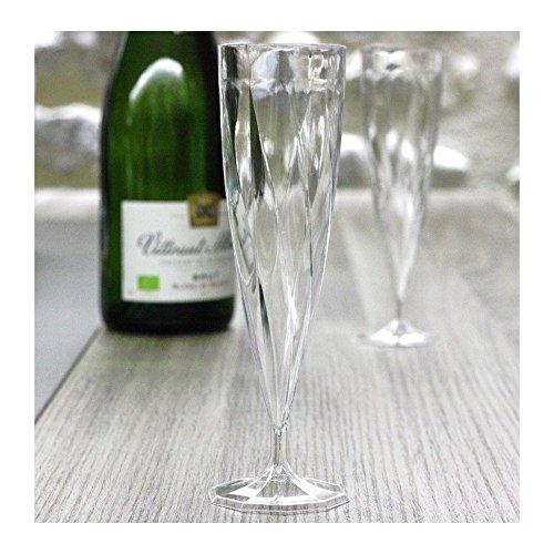 100 Flûtes à Champagne Jetables Monobloc 13cl, plastique polypropylène (transparent)