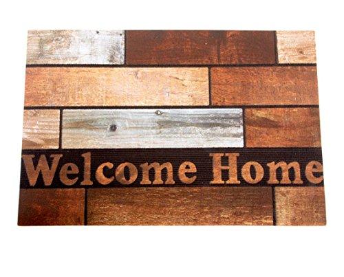LB H&F Fußmatte Türmatte Vintage - 60 x 40 cm - Außenmatte Welcome Home Braun -375 (8)