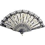 Kentop Spitze Faltbar Handfächer für den Sommer Anlässen, Gartenfeste, Tuch Dekoration,Hochzeiten im Freien (Schwarz)