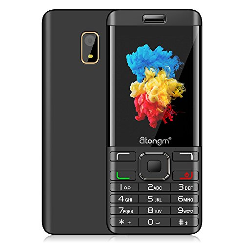POMP 2.8-Inch Big Screen SIM-Free Dual-Sim Mobile Phone With Camera Bluetooth FM Radio Big Button Easy to Use GSM Bar Feature Cell Phones (Black+Gold)
