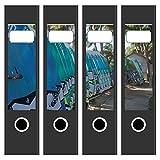 4 x Akten-Ordner Etiketten/Surfbretter/Design Aufkleber/Rücken Sticker/für breite Ordner/selbstklebend / 6cm breit