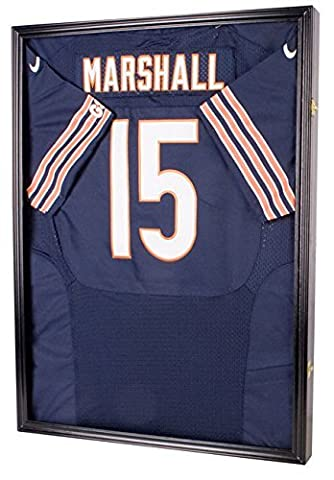 ULTRA CLEAR UV Protection Baseball / Football Jersey Frame Display Case Shadow Box, BLACK (JC04-BL) by DisplayGifts
