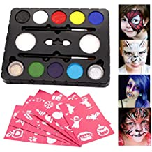 DISINO@ Kit vernice viso per i bambini 8 Colore Palette: 2 spazzole, 2 spugne, 2 scintillio. Professionale Corpo Face Painting Party Set, non tossico sicuro, grande prepararsi per Halloween Parade, tutti i tipi di parti, Body Painting Kit