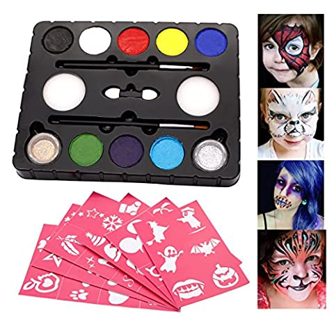 DISINO@ Face Paint Kit für Kinder 8 Farbpalette: 2 Pinsel, 2 Schwämme, 2 Glitter. Berufsgesichts-Körper-Anstrich-Partei-Satz, sicheres nichttoxisches, große Vorbereitung für Halloween-Parade, alle Arten Parteien, Körper-Anstrich-Installationssätze