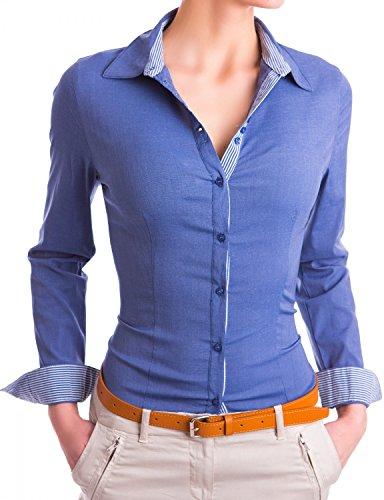 Damen elegante Hemden tailliert Figurbetonte langarm Blusen Business ( 531 ), Farbe:Dunkelblau, Größe:Small