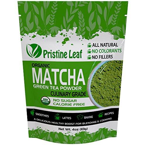 Pristine Leaf | Organic Matcha Green Tea Powder | Culinary Grade 4oz / 113grams | Great for Smoothies, Latte, Recipes, Baking, Cooking | Vegan | Calorie Free | Sugar Free | No Additives | USDA Organic