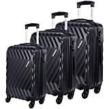 Nasher Miles Lombard Hard-Side Luggage Set of 3 Black Trolley Luggage Bags