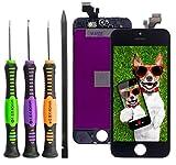 ToKa-Versand® Display für iPhone 5 Schwarz [Reparaturset] LCD Bildschirm [Komplett-Einheit] mit Touchscreen Glas, Rahmen, Gitter, Sensor Halter & 7tlg. Premium Werkzeug Set [deutscher händler]