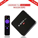 SCS 4K Android TV Box 7.1.1 Smart Media Stream Player TV Box con Wireless, 2GB RAM 16GB ROM RK3228 Quad Core Smart Box support USB/PC/3D/Video/XBMC/foto (R-Box Plus nero) immagine