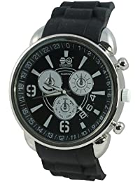 Crosshatch Men s Quartz Watch with Black Dial Analogue Display and Black  Silicone Strap CRS15 C 05873cee141