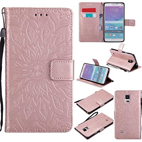 KKEIKO Galaxy Note 4 Case, Galaxy Note 4 Flip Leather Case [with Free Tempered Glass Screen Protector], Shockproof Bumper Cover and Premium Wallet Case for Samsung Galaxy Note 4 (Pink #2)