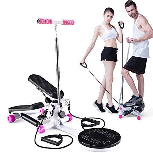 WANG-L Mini Step Swing Stepper Maschine Home Mute Aerobic Fitnessgeräte Abnehmen Kordelzug Multifunktionsdisplay Puller Twist Waist Disk,Pink