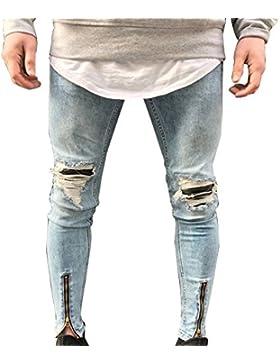 Pantaloni Uomo Jeans Skinny Fit Casual Strappati Biker Distrutto Taglio Straight Patchato Stile