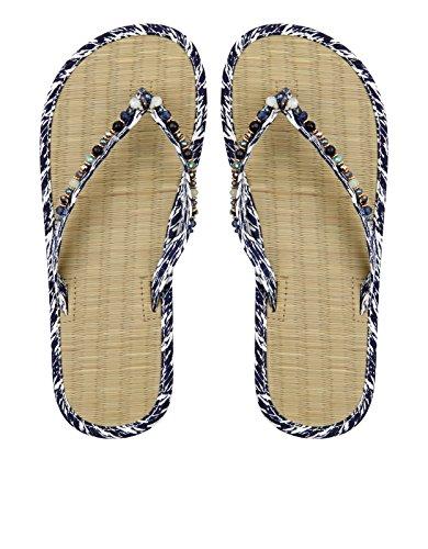 Accessorize Tongs à semelle en algue motif éclectique Ikat - Femme Bleu