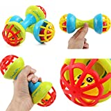 Pack of 2 - Dumbbell Rattle Toys for Babies, Infants and Toddlers - BPA Free - Non Toxic