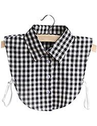 Vococal - Desmontable Camiseta Blusa Cuello Falso Trabajo Camisa Media para Mujer(Estilo de Cuadros,Negro)
