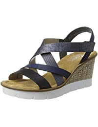 Womens 68879 Wedge Heels Sandals, Mehrfarbig (Ice-Multi/Silverflower), 3.5 UK Rieker