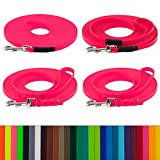 LENNIE BioThane Schleppleine, 5m, Neon-Pink, 16mm für große Hunde, genäht/geflochten, Handschlaufe & Karabiner wählbar