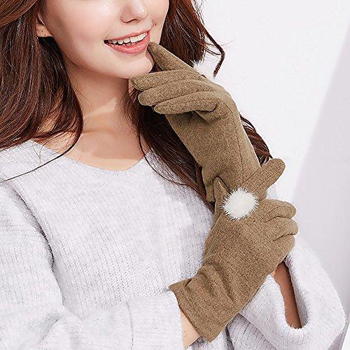 LJHA Frau Handschuh Touchscreen Winter warme Studenten im Freien / Fahren / Reithandschuhe 3 Farben sind verfügbar ( Farbe : Khaki )