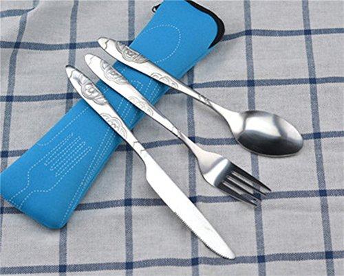 3 piezas de viaje portátiles de acero inoxidable cuchillería reutilizables vajilla conjunto con bolsa de cremallera azul 2