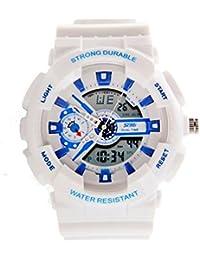 ufengke® Mode bunten wasserdichtes starke dauerhafte Handgelenk Armbanduhren, unisex multifunktionale Dual-Display Sport Armbanduhren, weiß