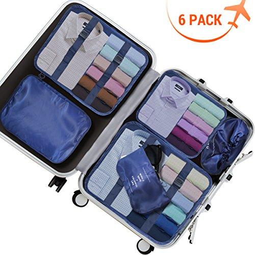 Cubes d'emballage de voyage - sac de stockage de voyage de 6Pcs de YonRui augmentent l'augmentation multifonctionnelle sac de stockage de bagage épaissi, parfait pour les bagages de vacances, voyage a