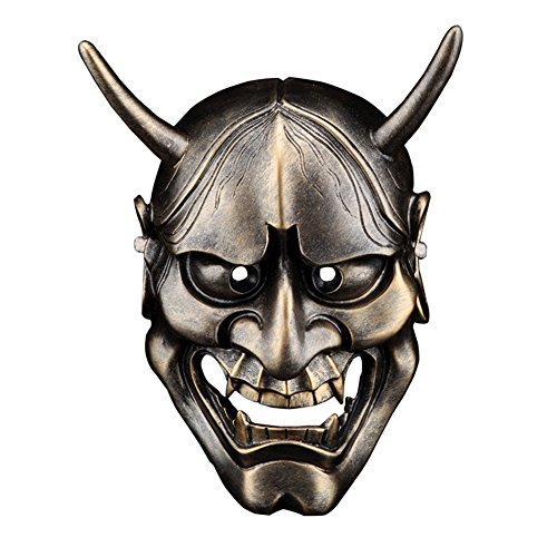 Hacoly Halloween Masken Festival Kostüm Horrible Maske Thrill Dekorative Cosplay Gruseliger Japanische PRAJNA Harz Maske Adult Kostüm Zubehör Weihnachten Party Dekoration - Bronze