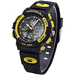 Leopard Shop HOSKA H003S Multifunctional Digital Wristwatch Quartz Children Sport Watch Chronograph Calendar Alarm EL Backlight Water Resistance Yellow Black